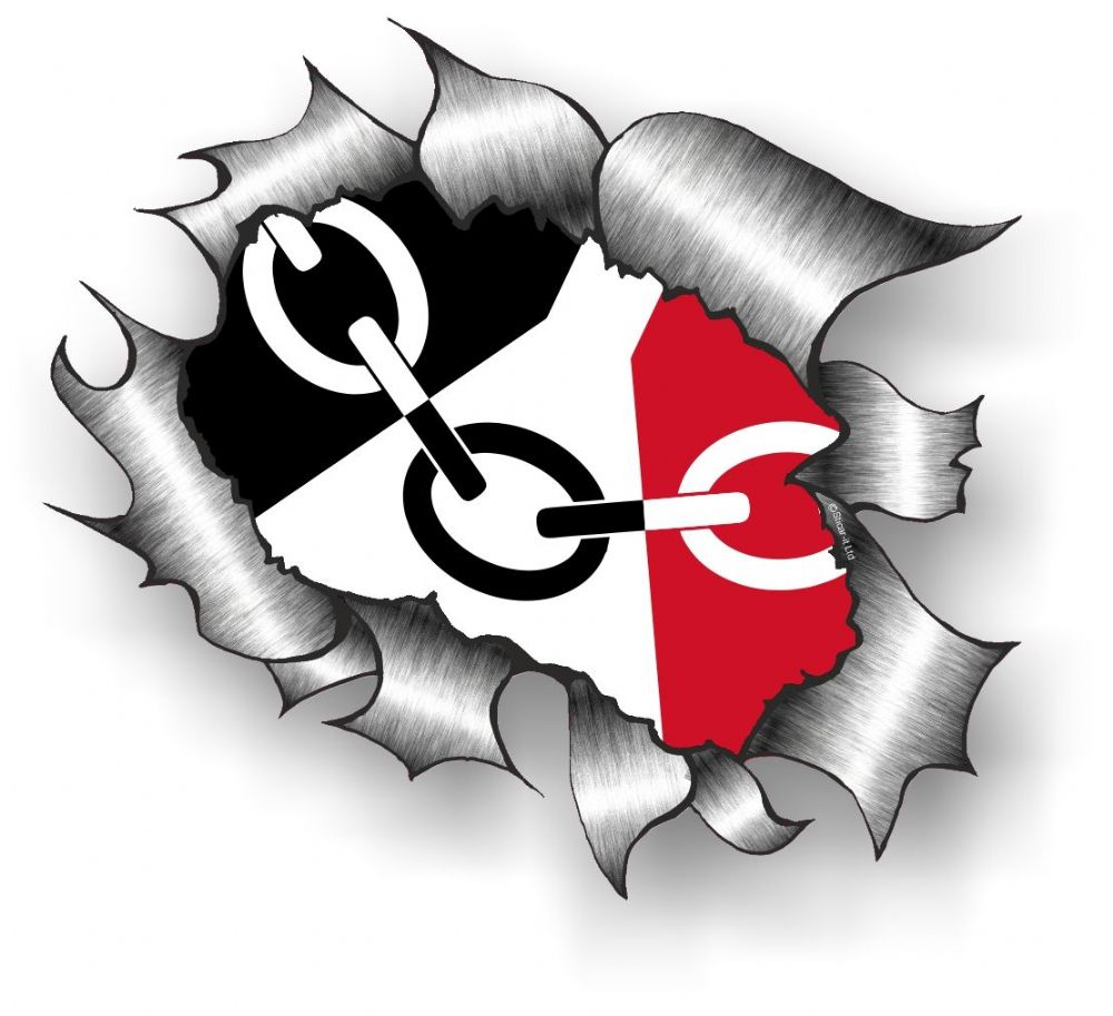 Ripped Torn Metal Design With Black Country Flag West